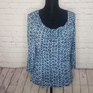 MICHAEL Kors Blue Snakeskin Print Cowl Neck Top